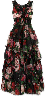 Dolce & Gabbana Ruffled Tiered Floral-print Silk-chiffon Gown - Black