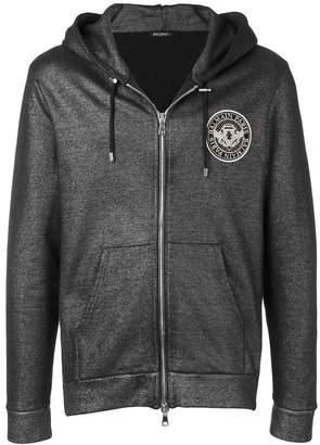 Balmain metallic zip hoodie