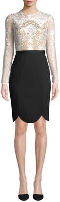 Catherine Deane Latisha Long-Sleeve Dress w/ Lace & Ponte