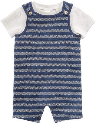 First Impressions 2-Pc. T-Shirt & Herringbone Overall Set, Baby Boys, Created for Macy's