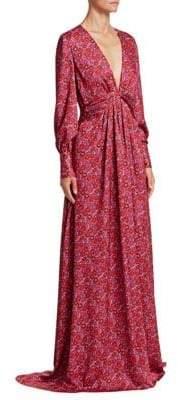 Lela Rose V-Neck Draped Printed Dress