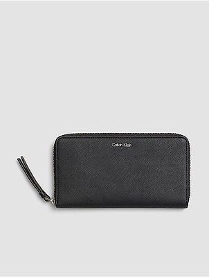 Calvin Klein Calvin Klein Womens Faux Leather Large Zip Wallet Black