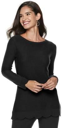 Elle Women's Scallop-Hem Tunic Sweater