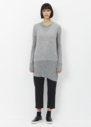 R13 heather grey distressed edge crewneck $695 thestylecure.com