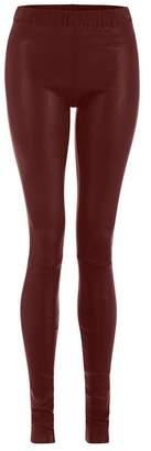 ELLESD - Burgundy Leather Stretch Leggings