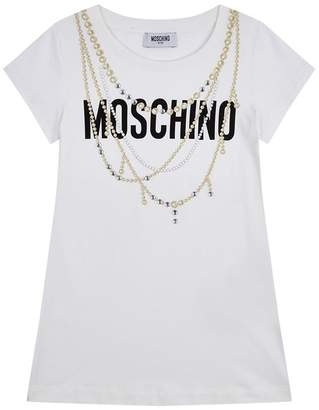 Moschino Logo T-Shirt with Necklace Embellishments