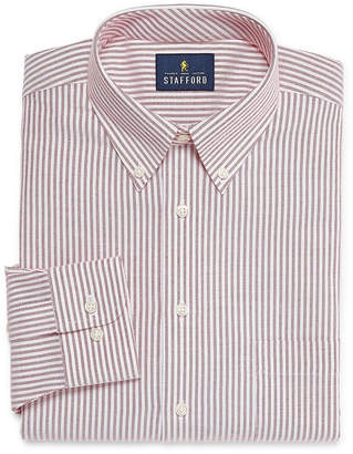 STAFFORD Stafford Travel Wrinkle-Free Stretch Oxford Long Sleeve Oxford Stripe Dress Shirt