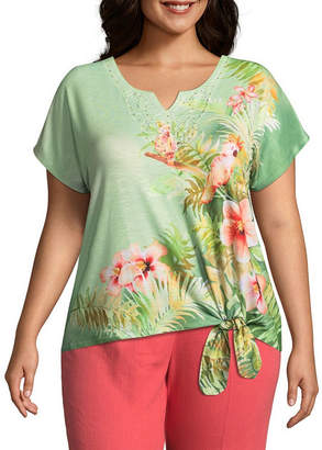 Alfred Dunner Parrot Cay Parrot Tee - Plus