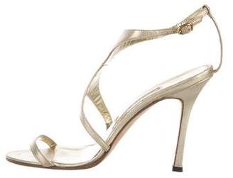 Manolo Blahnik Metallic Leather Sandals