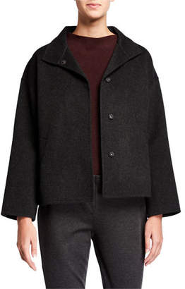Eileen Fisher Brushed Double-Face Wool Stand Collar Boxy Jacket