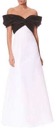 Carolina Herrera Off-the-Shoulder Twist-Front Colorblocked Evening Gown