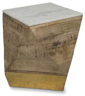 White Marble Top Natural Geo Side Table
