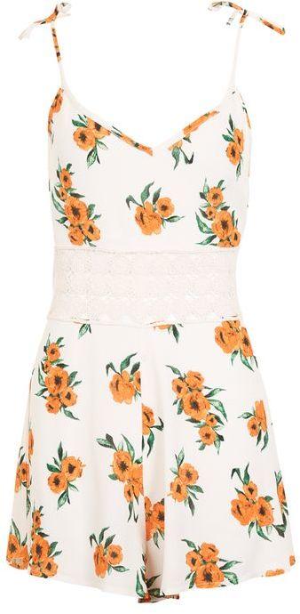 TopshopTopshop Orange flower playsuit