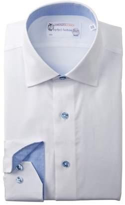 Lorenzo Uomo Chevron Trim Fit Dress Shirt