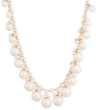 "Carolee Gold-Tone Crystal & Imitation Pearl 16"" Collar Necklace"