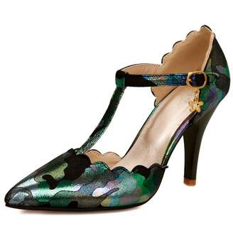 DecoStain Women's T-Strap Pointed Toe D'Orsay High Heels Pumps Dress Shoes