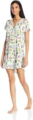 PJ Salvage Women's Playful Prints Henley Nightgown