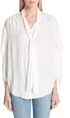 Balenciaga Twist Sleeve Silk Blouse