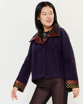 Save the Queen Pattern Inset Snap Front Coat