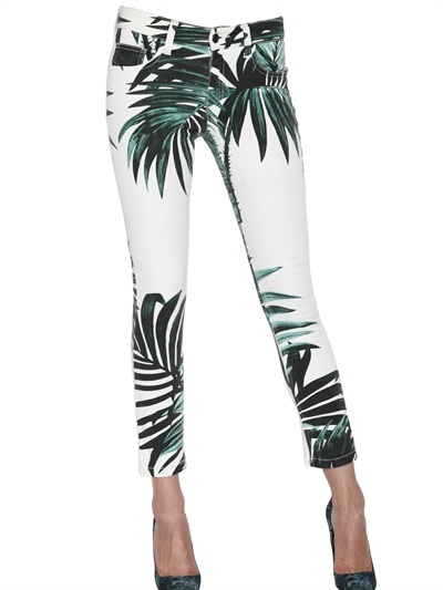 American Retro Palm Print Cotton Stretch Denim Jeans