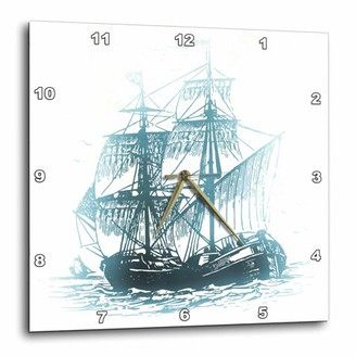 3dRose Pirate Ship On the Ocean - Halloween Art, Wall Clock, 10 by 10-inch