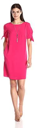 Amy Byer Women's Tie Sleeve Shift Dress with Necklace