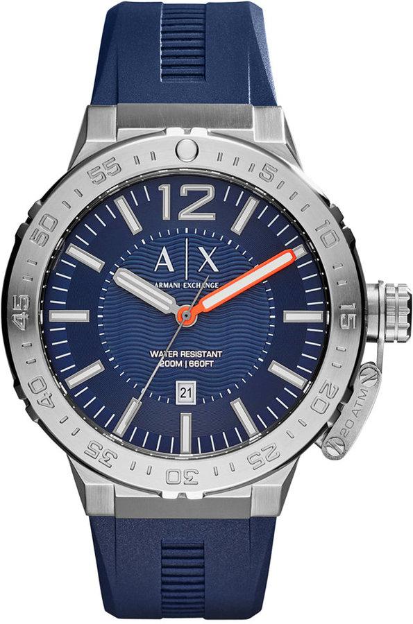 Armani Exchange A X Armani Exchange Men's Blue Silicone Strap Watch 48mm AX1812