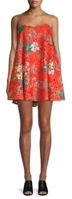Caroline Constas Gab Bustier Floral-Print Dress