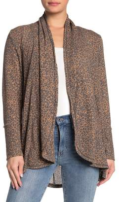 C&C California Printed Textured Knit Shawl Cardigan