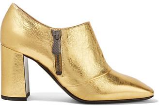 Bottega Veneta - Metallic Textured-leather Ankle Boots - Gold $740 thestylecure.com