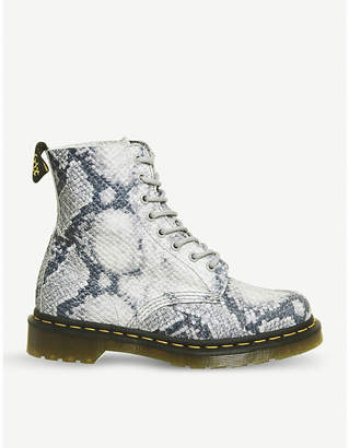 Dr. Martens 1460 Pascal 8-eye snake-embossed leather boots