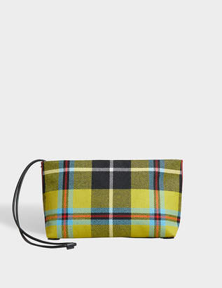 Burberry Zipped Clutch Bag in Flax Yellow and Caramel Cotton