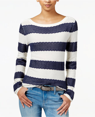 Tommy Hilfiger Striped Lace Sweater, Only at Macy's $69.50 thestylecure.com