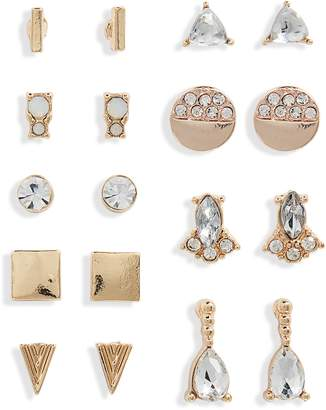 BP Set of 9 Crystal Stud Earrings