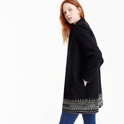 Collection embellished coat in Italian wool melton