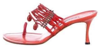 Manolo Blahnik Embellished Suede Sandals
