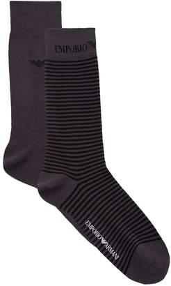 Giorgio Armani Stretch Cotton Striped Socks (Pack of 2)