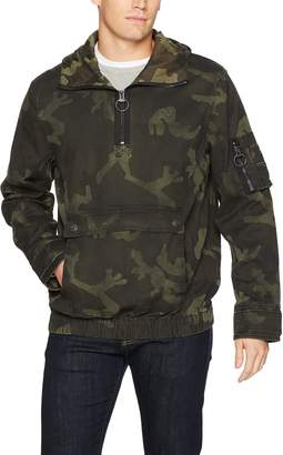 True Religion Men's Anorak Jacket with Camo Print, Military Green, XL