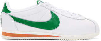 Nike White and Green Stranger Things Edition Classic Cortez QS HH Sneakers