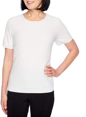 Alfred Dunner Classics Short Sleeve Crew Neck Pullover Sweater