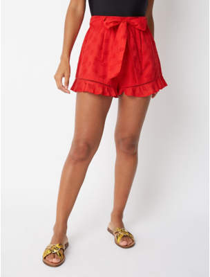 0c0489223a4ea George Red Palm Broderie Anglaise Tie Waist Shorts