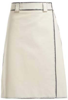 Prada Distressed Leather A Line Skirt - Womens - White Multi