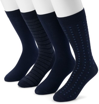 Dockers Men's 4-pack Striped, Solid & Dot Dress Socks