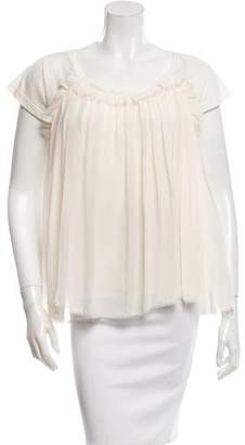 Lanvin Short Sleeve Pleated Top