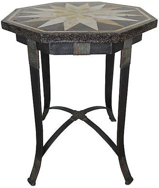 One Kings Lane Vintage Octagonal Iron Table with Travertine Top