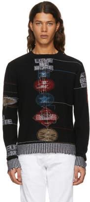 Valentino Black Cashmere Reverse Embroidered Sweater