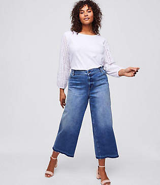 LOFT Plus Wide Leg Crop Jeans in Classic Mid Indigo Wash