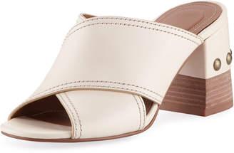 See by Chloe Leather Crisscross Block-Heel Slide Sandal