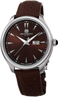 Bruno Magli Men's Luca 42mm Perforated Leather Watch, Brown/Silver