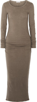 James Perse - Ruched Cotton-blend Jersey Midi Dress - Mushroom $265 thestylecure.com